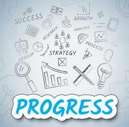 Progress Ideas Showing Forward Innovation And Reflecting Stock Illustration