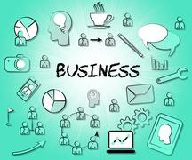 Business Icons Indicating Symbols Sign And Corporation Stock Illustration