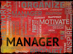 Manager Words Indicates Supervisor Boss And Administrator Stock Illustration