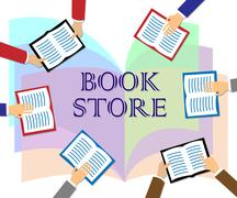Book Store Indicates Fiction And Education Retail Stock Illustration