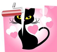 Cat Love Indicates Feline Devotion And Passion Stock Illustration