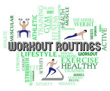 Workout Routines Show Physical Activity And Aerobics Stock Illustration