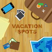 Vacation Spots Means Holiday Places And Destinations Piirros