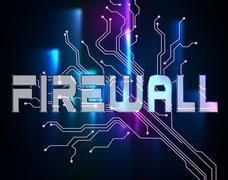 Firewall Word Means Protected Online And Safety Stock Illustration