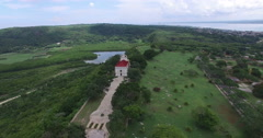 Bird's-eye panoramic view from drone to landscape of forests, extensive field Stock Footage