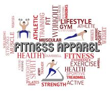 Fitness Apparel Words Around Men Getting Fit Stock Illustration