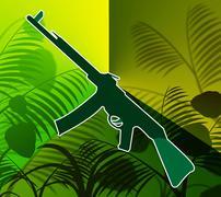Machine Gun In The Jungle Shows Warfare And Battle Stock Illustration
