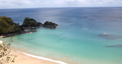 4K Paradise tropical beach. Idyllic Shore With Turquoise Water. Sancho Noronha Stock Footage