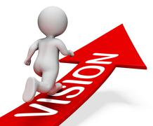 Vision Arrow Indicates Mission Aim 3d Rendering Stock Illustration