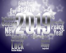 Twenty Nineteen Shows 2019 New Year Parties Stock Illustration