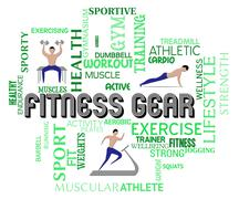 Fitness Gear Means Exercising And Gym Equipment Stock Illustration