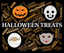 Halloween Treats Indicates Luxuries Goodies And Horror Stock Illustration