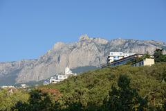 View towards Ai-Petri Mountain from Gaspra location in Crimea, Russia. Stock Photos
