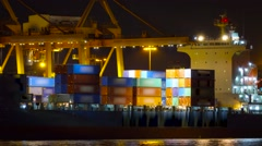 Timelapse of loading container on port,Thailand Stock Footage