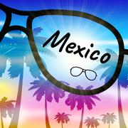 Mexico Holiday Represents Cancun Vacation And Getaway Stock Illustration