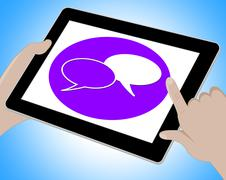 Voip Tablet Means Voice Over Broadband Computing 3d Illustration Stock Illustration