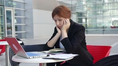 Business woman tired and does not know what to do Stock Footage