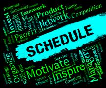 Schedule Words Represents Calendar Itinery And Timetable Piirros
