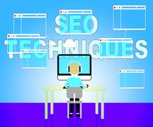 Seo Techniques Shows Internet Search Engines Strategy Stock Illustration