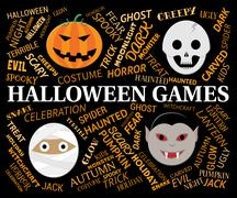 Halloween Games Represents Trick Or Treat Play Stock Illustration