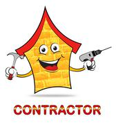 Building Contractor Shows Real Estate Builder Construction Stock Illustration