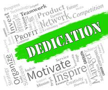 Dedication Words Show Commitment Drive And Tenacity Stock Illustration