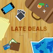 Late Travel Deals Means Last Minute Bargains Stock Illustration