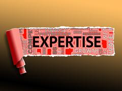 Expertise Word Represents Specialists Experts And Proficiency Stock Illustration