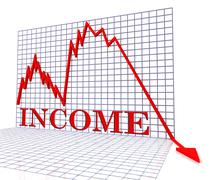 Income Graph Negative Shows Earnings Decline 3d Rendering Stock Illustration