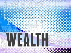 Wealth Words Show Prosper Prosperity And Affluence Stock Illustration