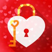 Hearts Lock Means In Love And Adoration Stock Illustration