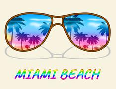 Miami Beach Shows Florida Vacation Or Holiday Stock Illustration