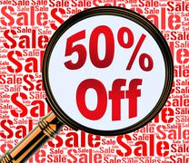 Fifty Percent Off Indicates Half Price 3d Rendering Stock Illustration