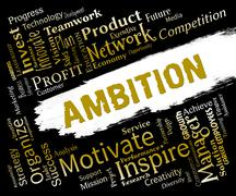 Ambition Words Show Aims Dreams And Targets Stock Illustration