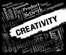 Creativity Words Represent Innovation Ideas And Imagination Stock Illustration