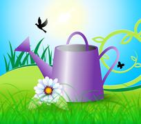 Watering Can Indicates Horticulture Flowers And Gardening Piirros