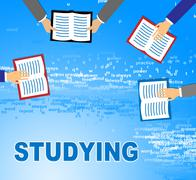 Studying Books Indicates Learning And Reading Literature Stock Illustration
