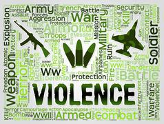 Violence Words Represent Brute Force And Brutality Stock Illustration