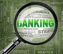Banking Magnifier Means Bank Finance 3d Rendering Stock Illustration