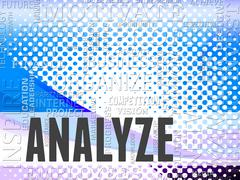 Analyze Words Shows Analyzing Research And Analytics Stock Illustration