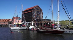 Yachts in Klaipeda Old Castle Harbour Stock Footage