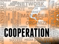 Cooperation Words Shows Teamwork Partnership And Unity Stock Illustration