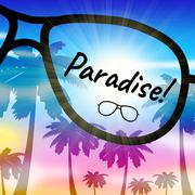 Paradise Vacation Represents Beautiful Resort In The Tropics Stock Illustration