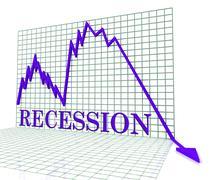 Recession Graph Negative Means Economic Depression 3d Rendering Stock Illustration