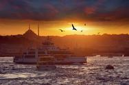 Dramatic sunset over evening Istanbul, Turkey Stock Photos