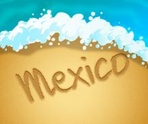 Mexico Holiday Indicates Cancun Vacation And Break Stock Illustration