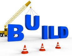 Build Word Means House Building 3d Rendering Stock Illustration
