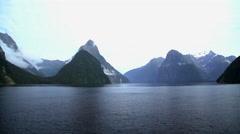 New Zealand National Landmark Mitre Peak in scenic holiday destination of Stock Footage