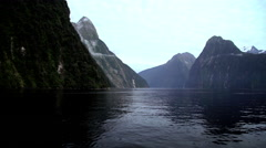 Scenic holiday destination Mitre Peak Mountain in Fiordland National Park South Stock Footage