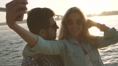 Romantic woman and man in love taking sharing photo Stock Footage